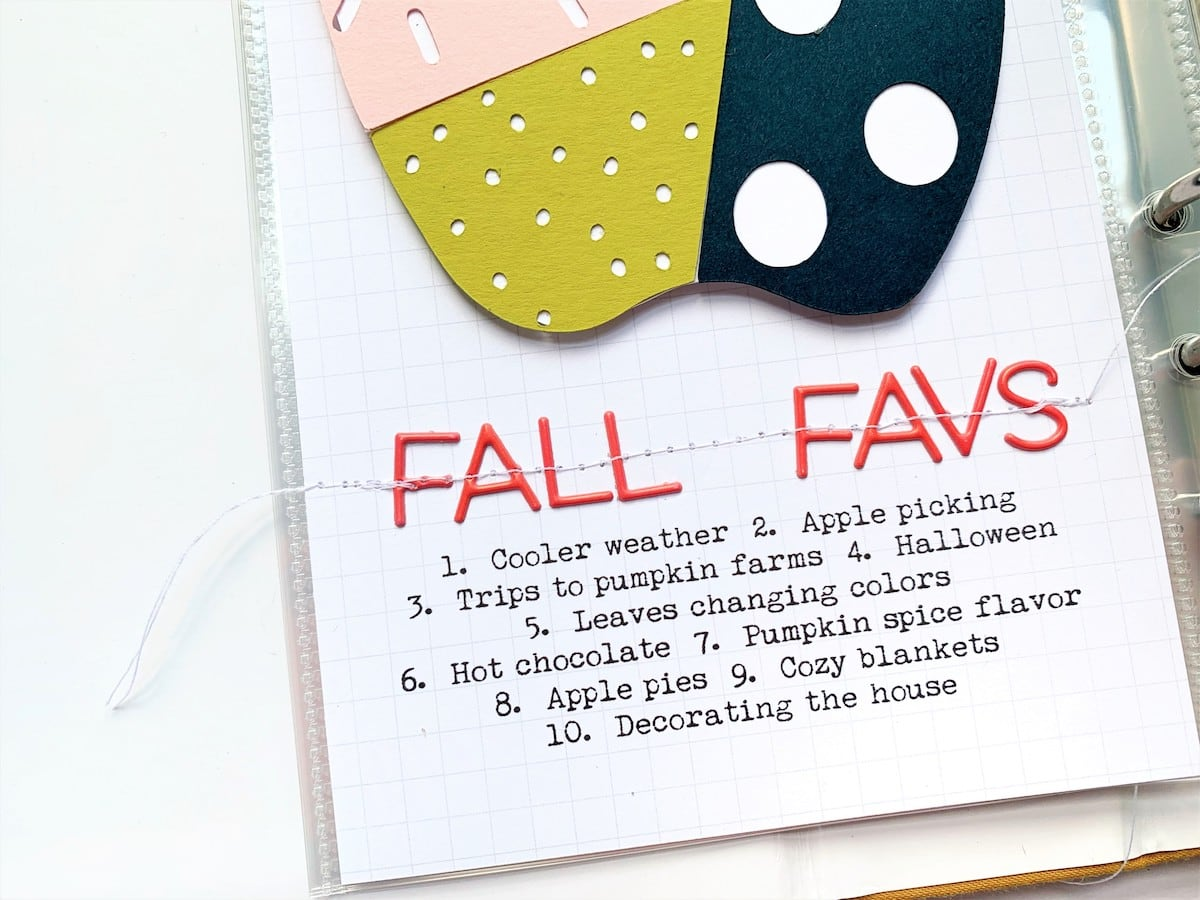 journaling on apple-themed scrapbook layout
