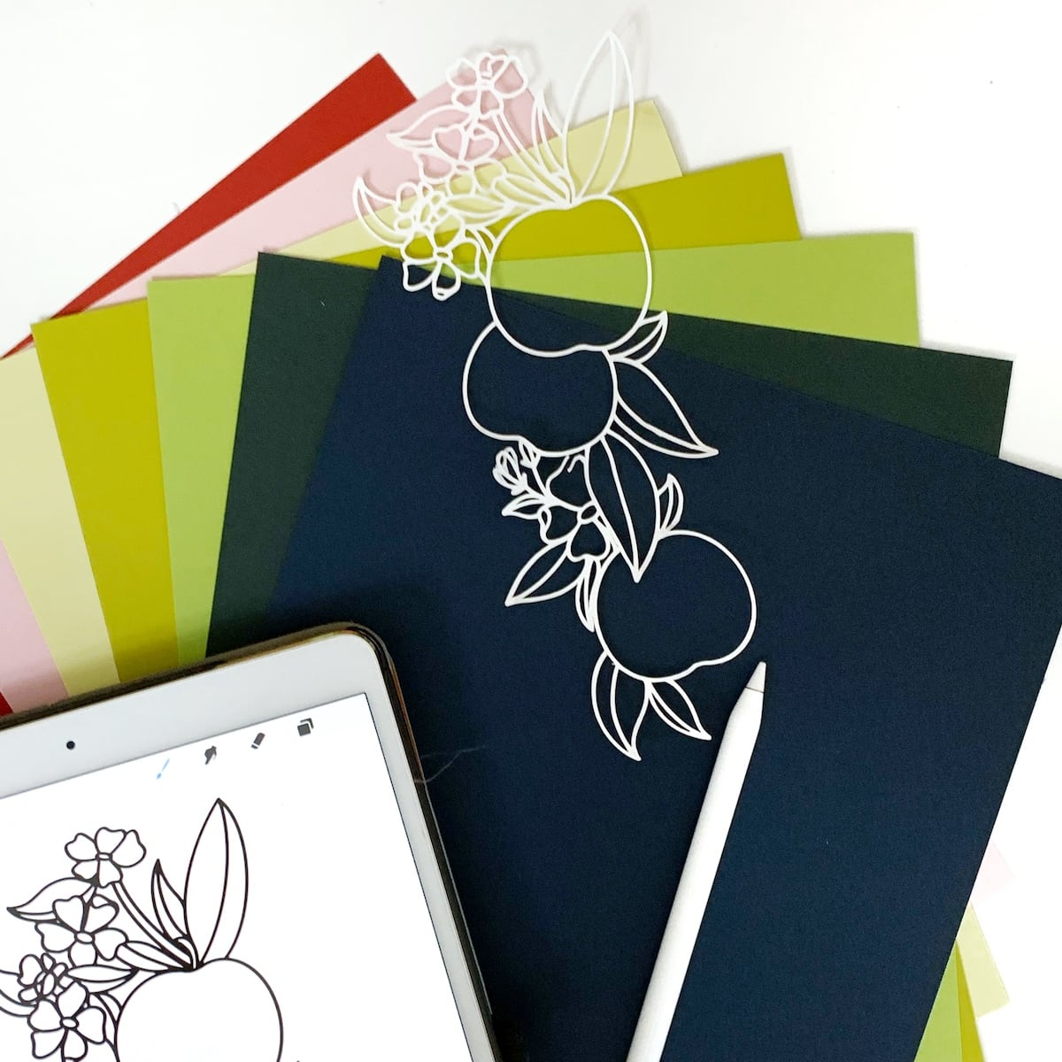supplies for apple-themed scrapbook layout