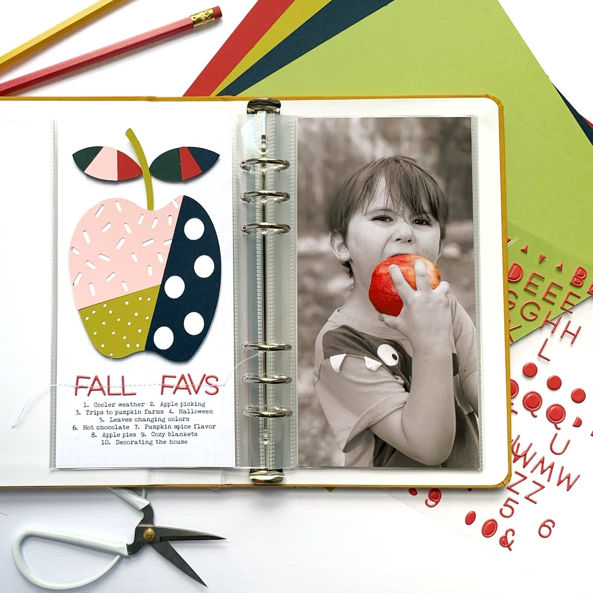 apple scrapbook layout using Cardstock Warehouse papers