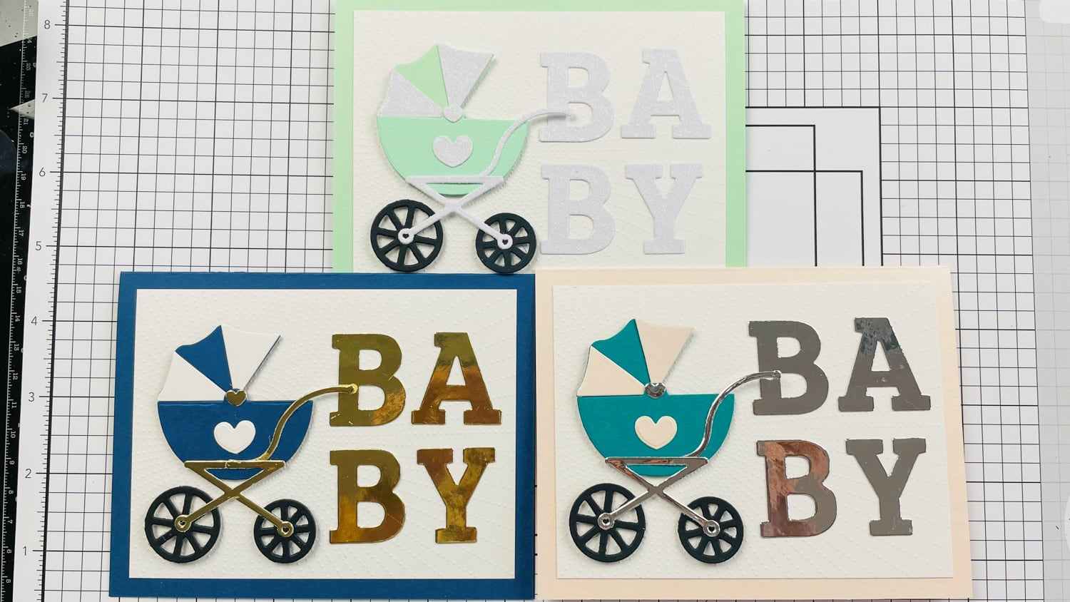 Assembled Baby Carriage Cards