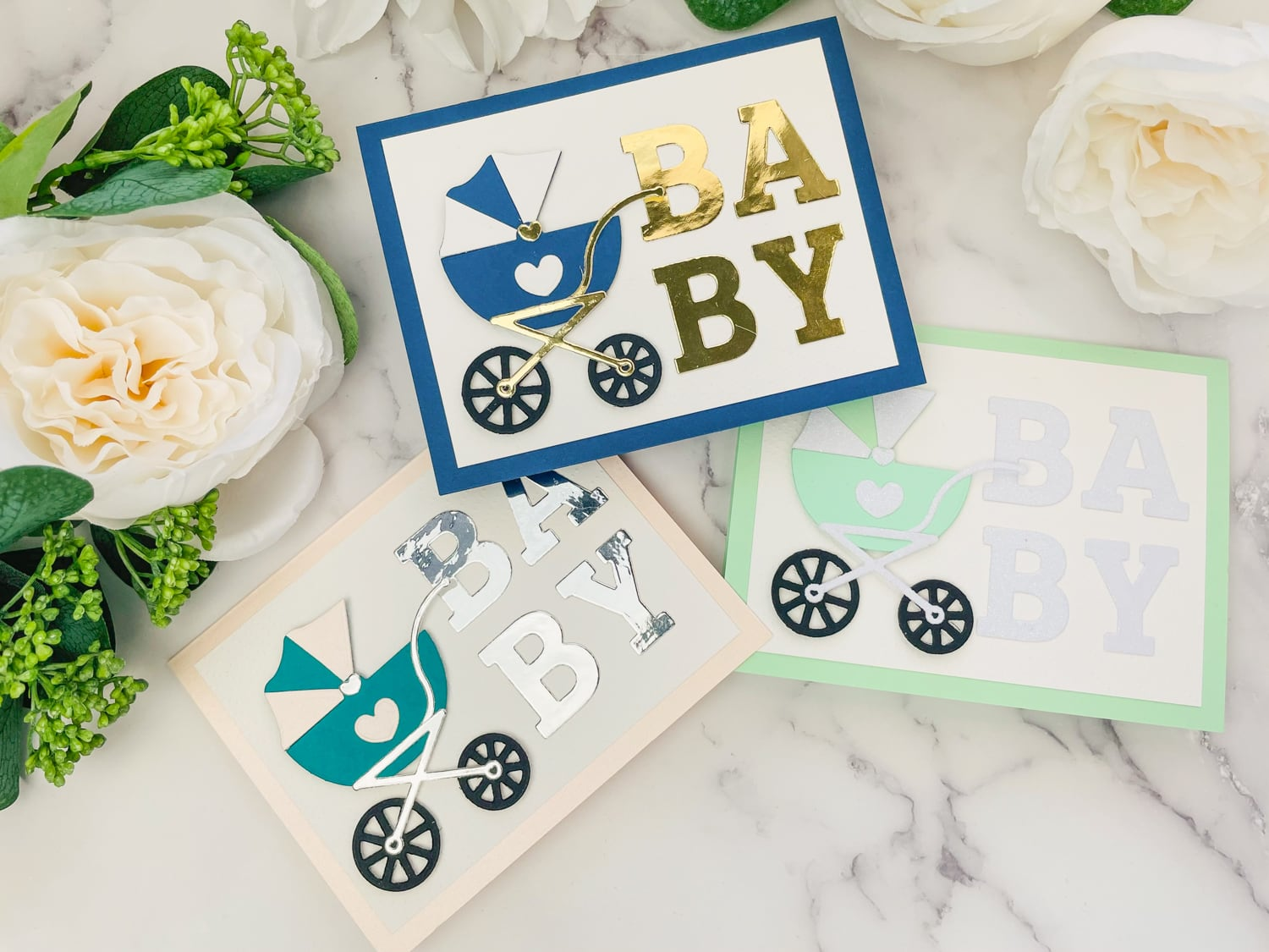 finished baby carriage cards