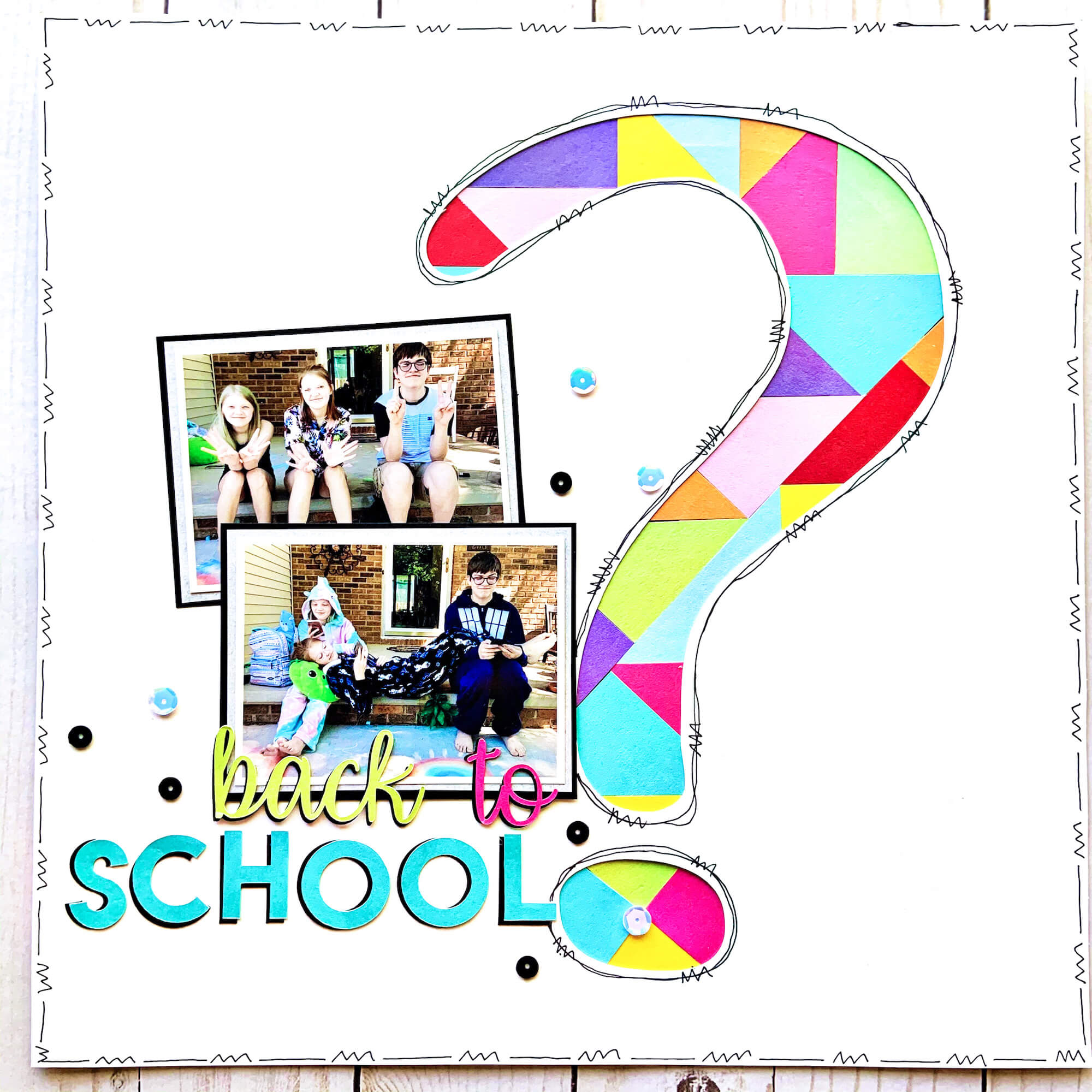 Question Mark Mosaic Back to School Scrapbook Layout