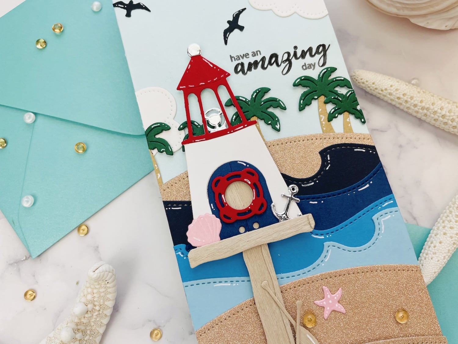 close up of details on beachy birdhouse card