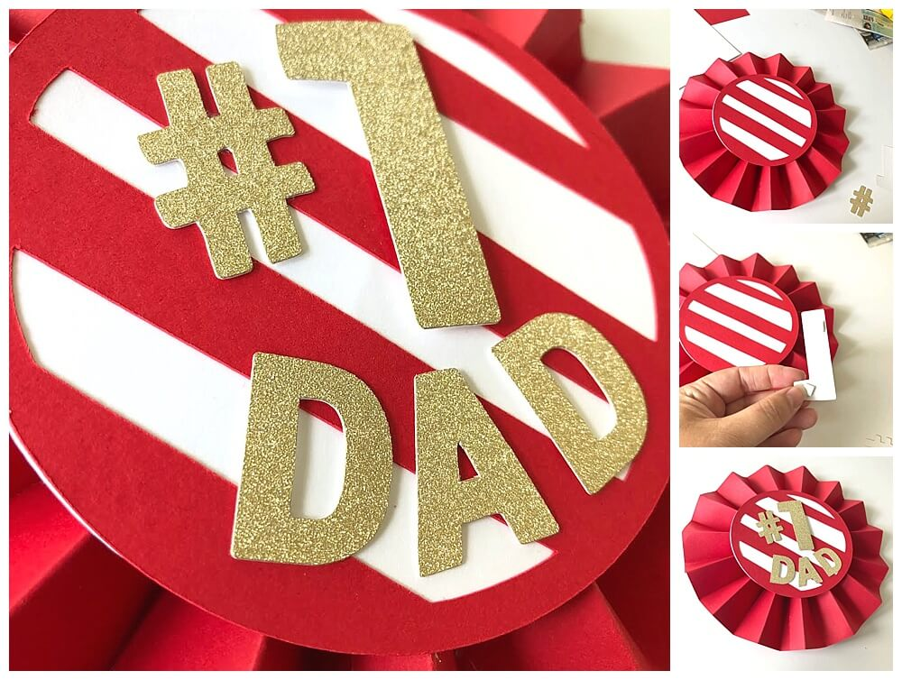 Fathers Day Best Dad Cardstock Paper Ribbon Pinwheel