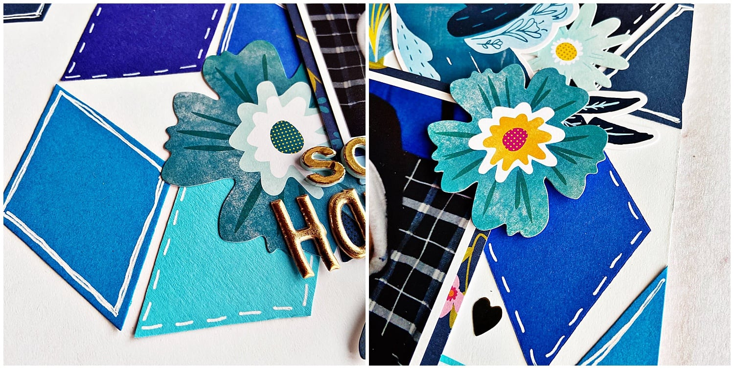 embellishments on blue diamonds scrapbook layout