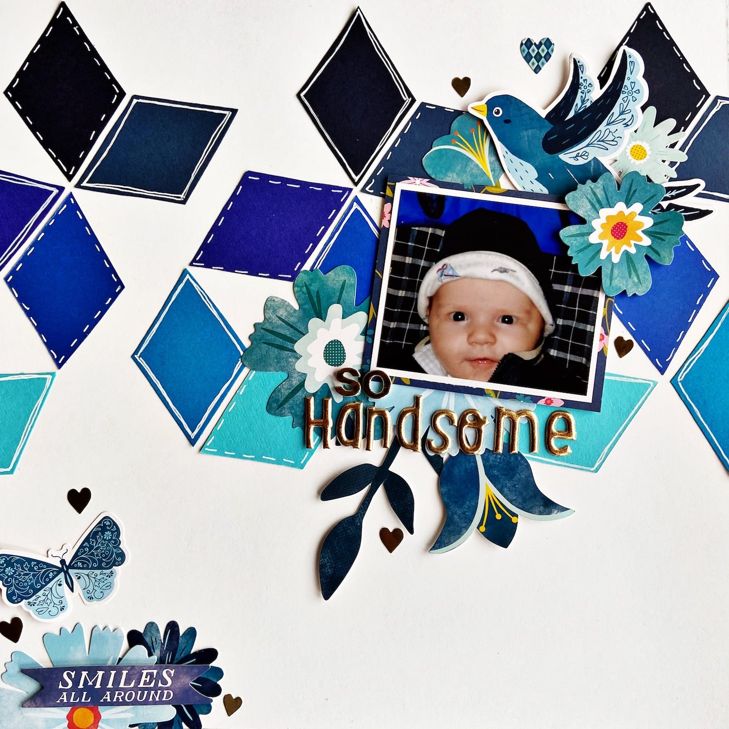 Finished Beautiful Blues Diamond Scrapbook Layout