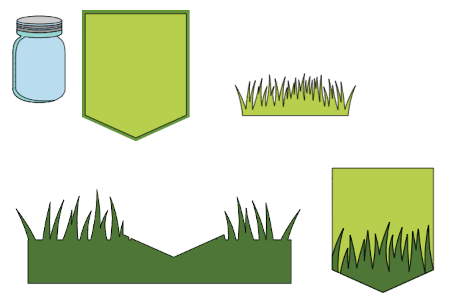 using the slice feature to cut the grass shape
