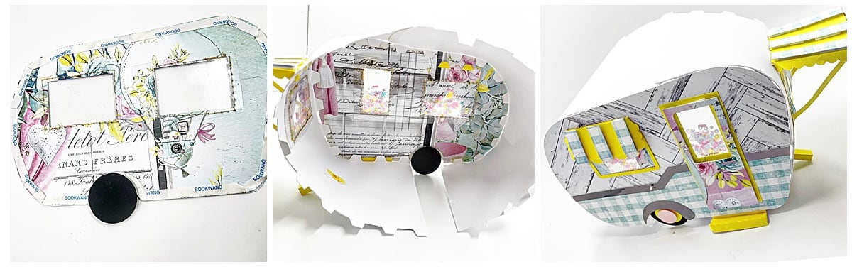 assembling the two halves of the paper camper