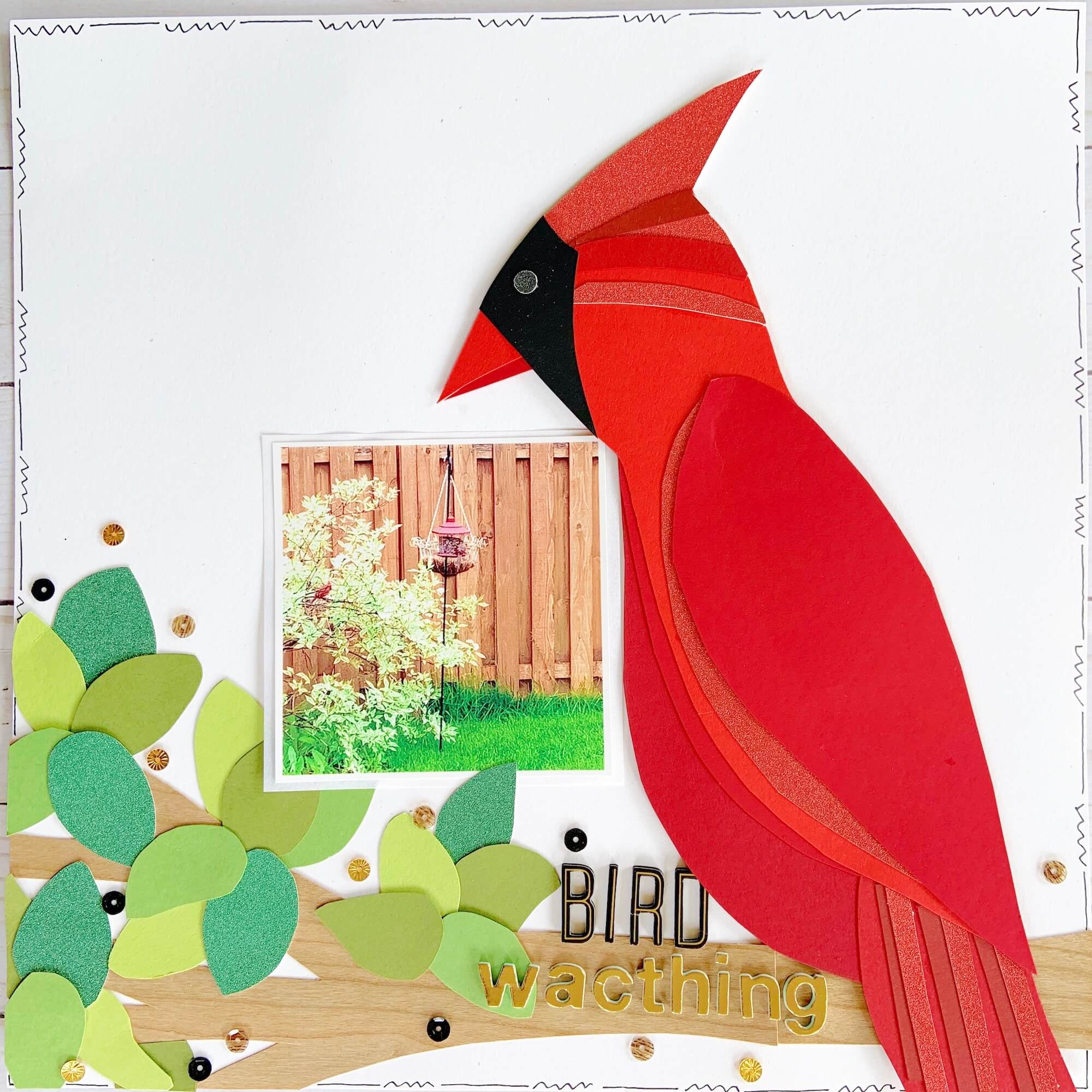 Paper Piecing Cardinal Bird Scrapbook Layout