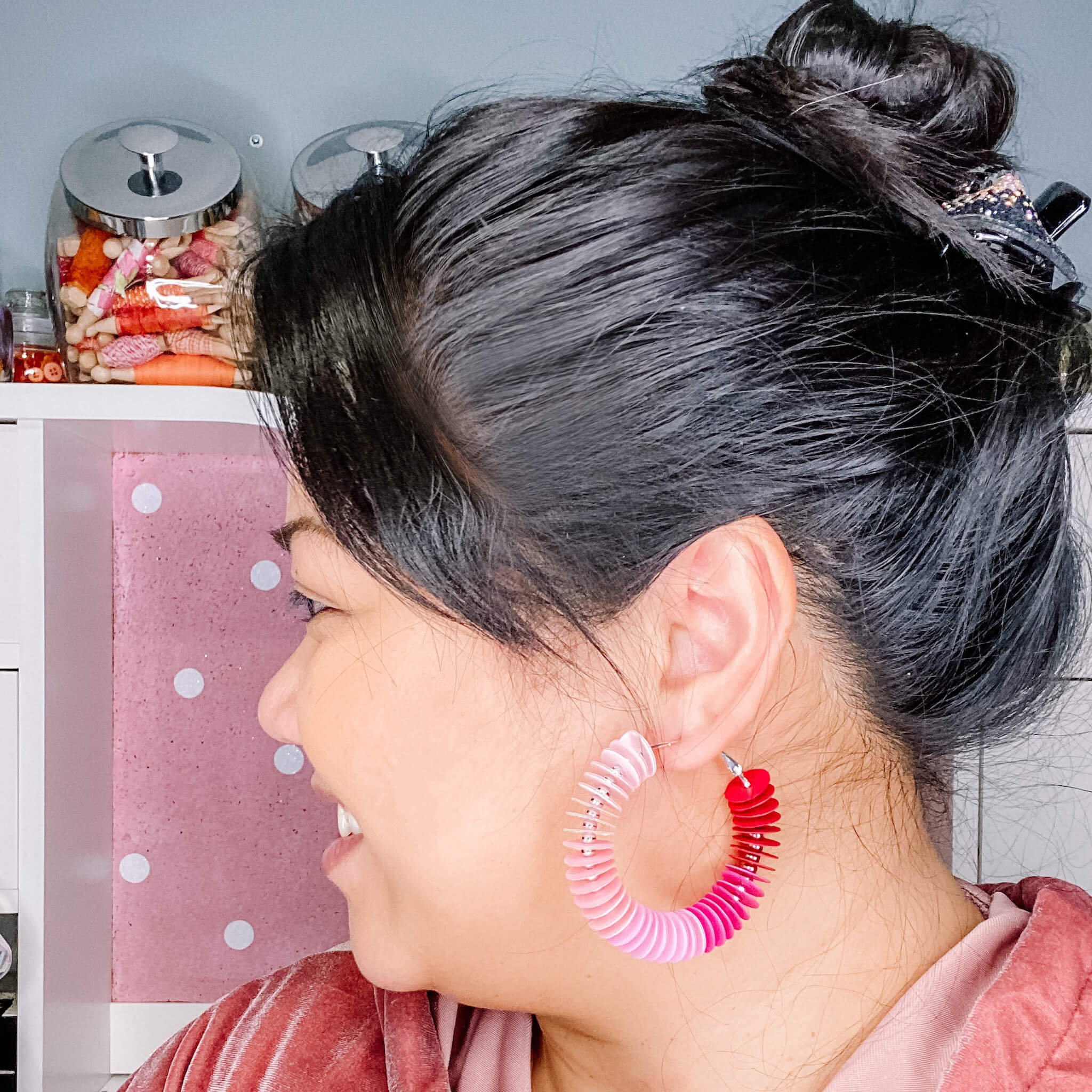 Wearing DIY paper circle hoop earrings