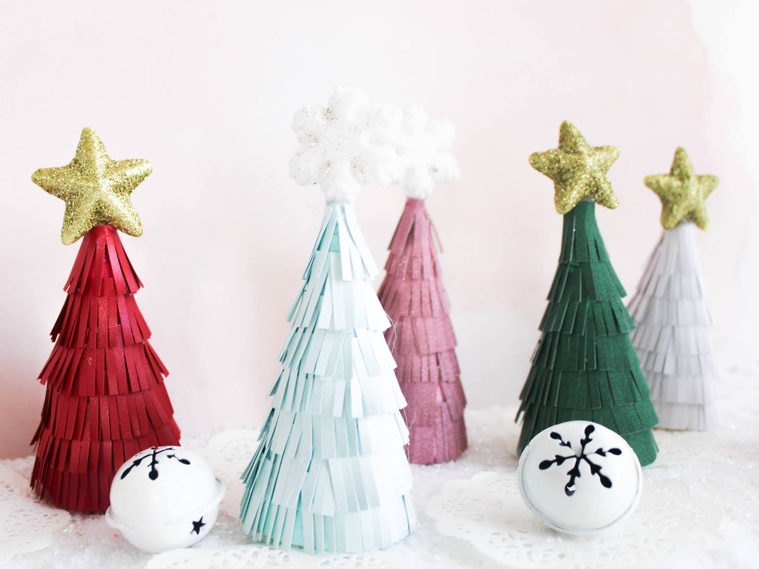 DIY Frilled paper Christmas tree cones