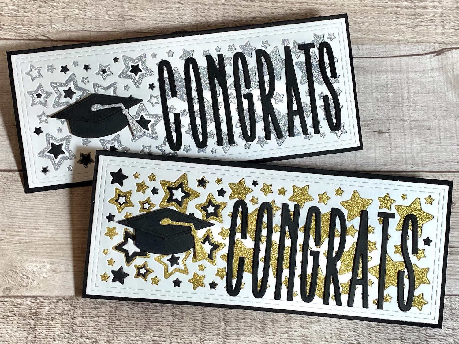 Congrats Graduation Cards with Gold and Silver Glitter on Sirio Ultra Black