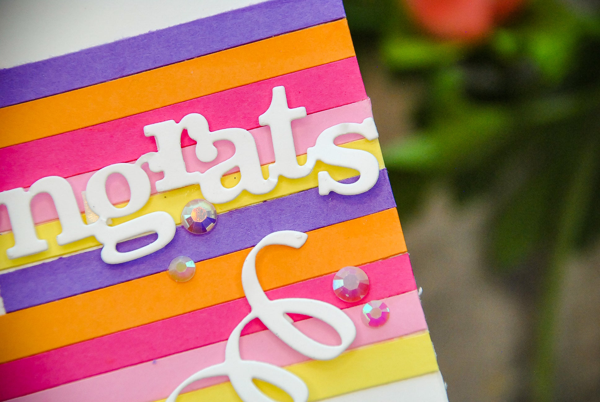 DIY Congrats Cardstock Stripes Card