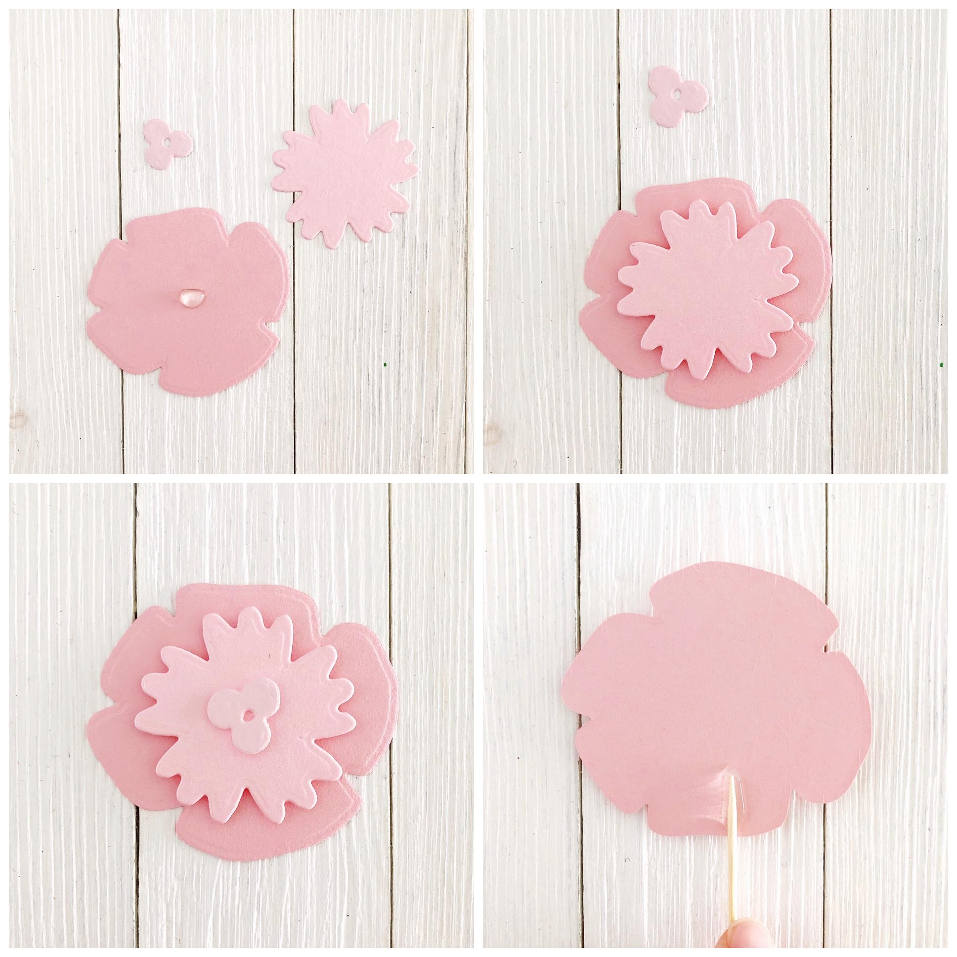 DIY Ombre Layered Cupcake Toppers Steps 1-4