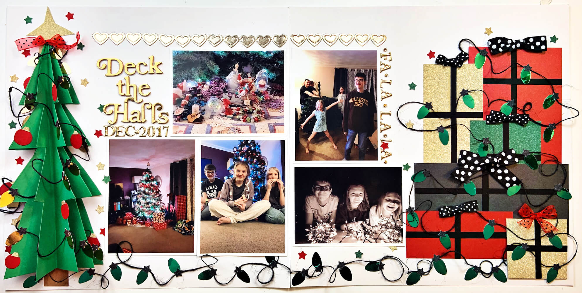 Deck the Halls Two Page Cardstock Paper Scrapbook Layout