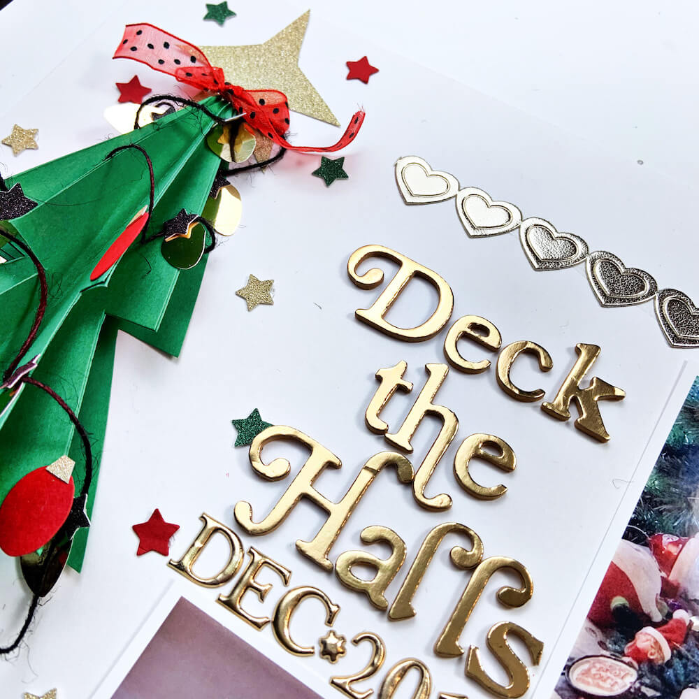 Deck the Halls Two Page Cardstock Paper Scrapbook Layout Title