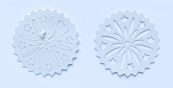 2 examples of die cuts showing incorrect and correct pressure settings