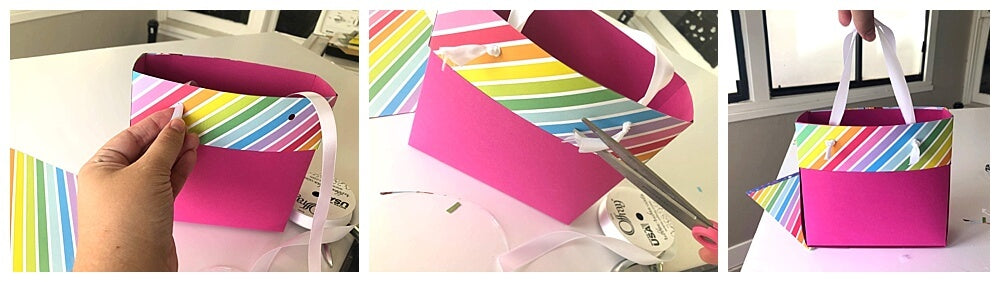 DIY Cardstock Paper Gift Bags Attaching Ribbon