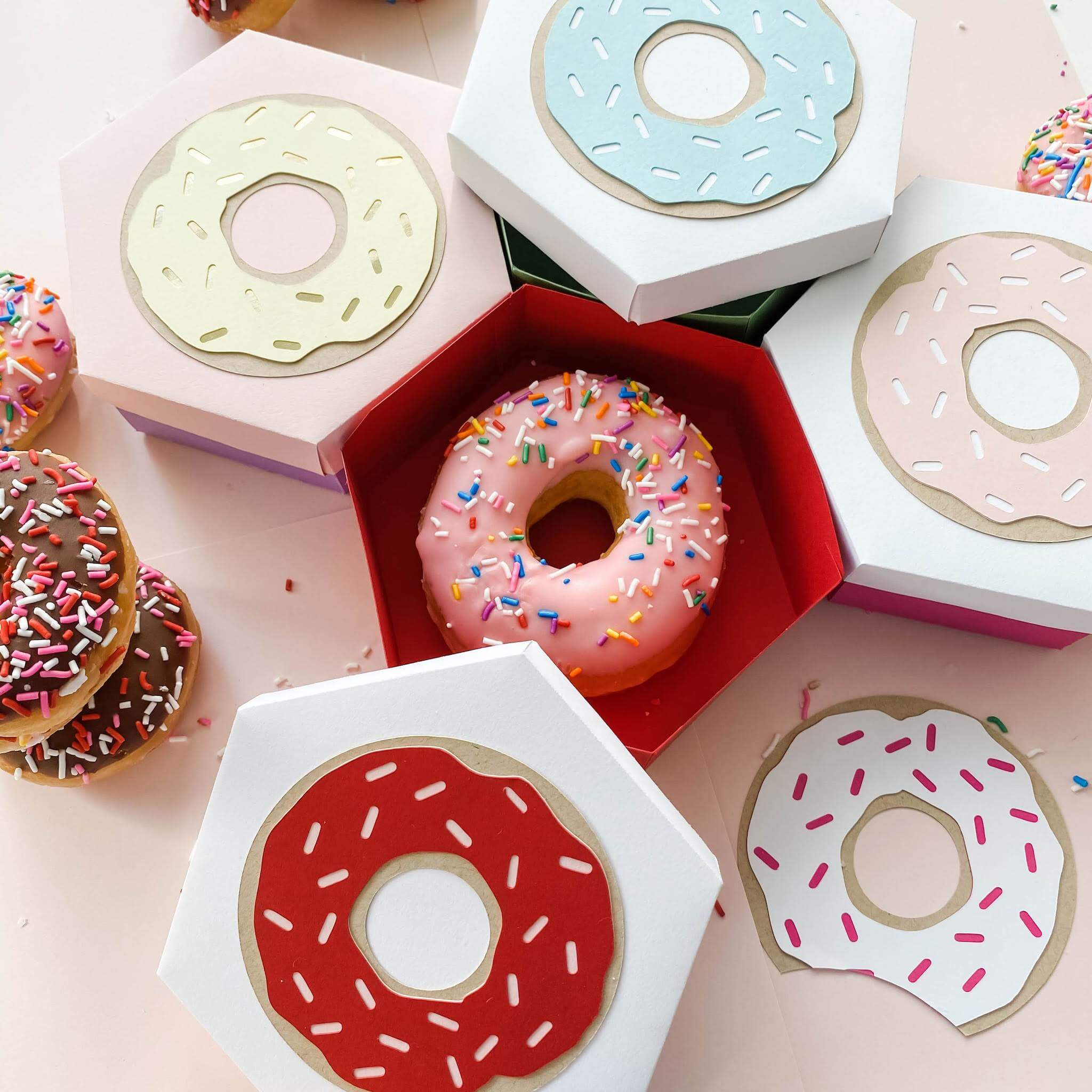 Cardstock Paper DIY Donut Treat Box