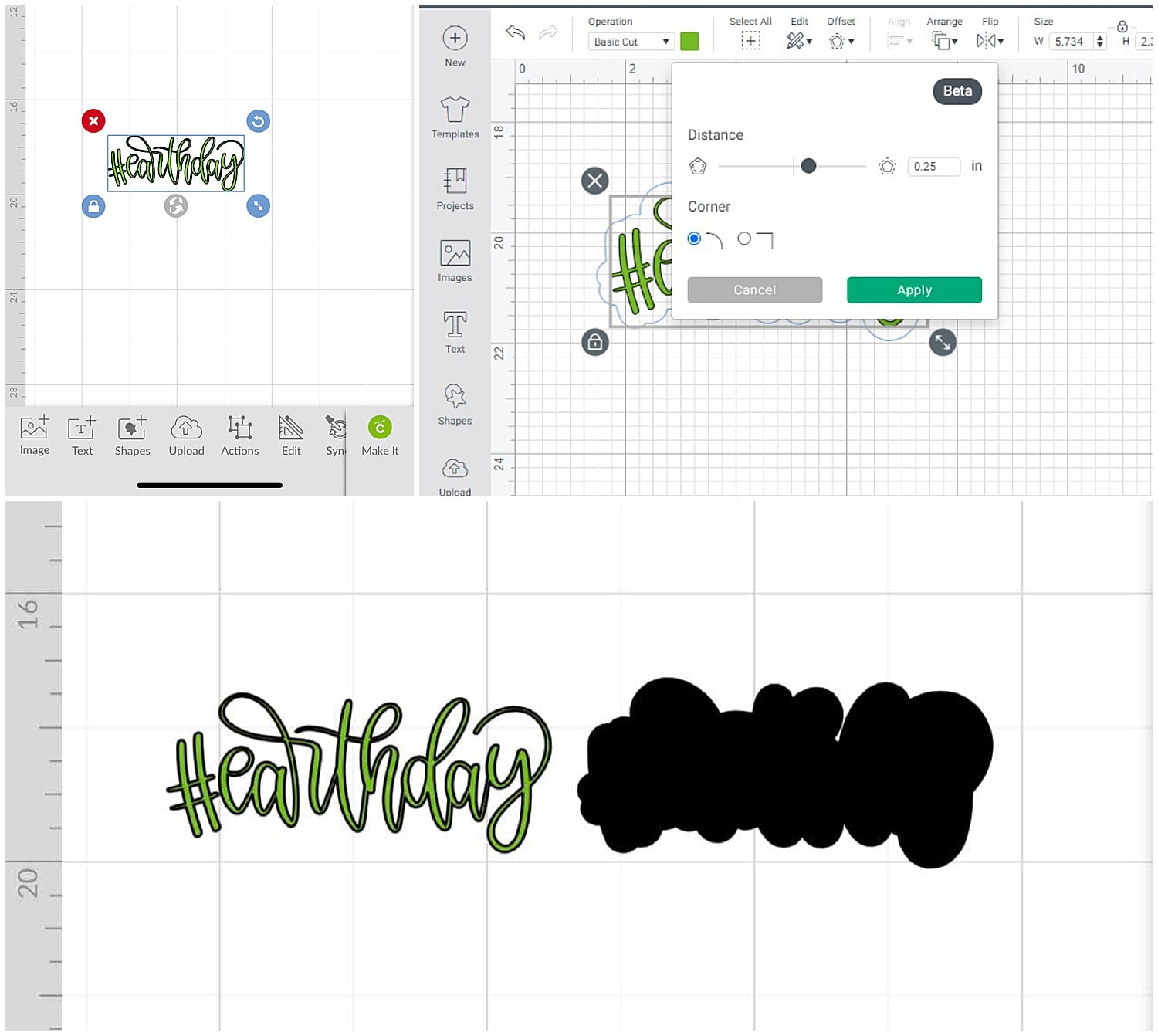 using the offset feature in Cricut Design Space