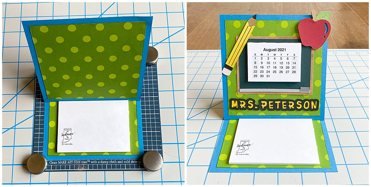 adding decorations to standing easel calendar