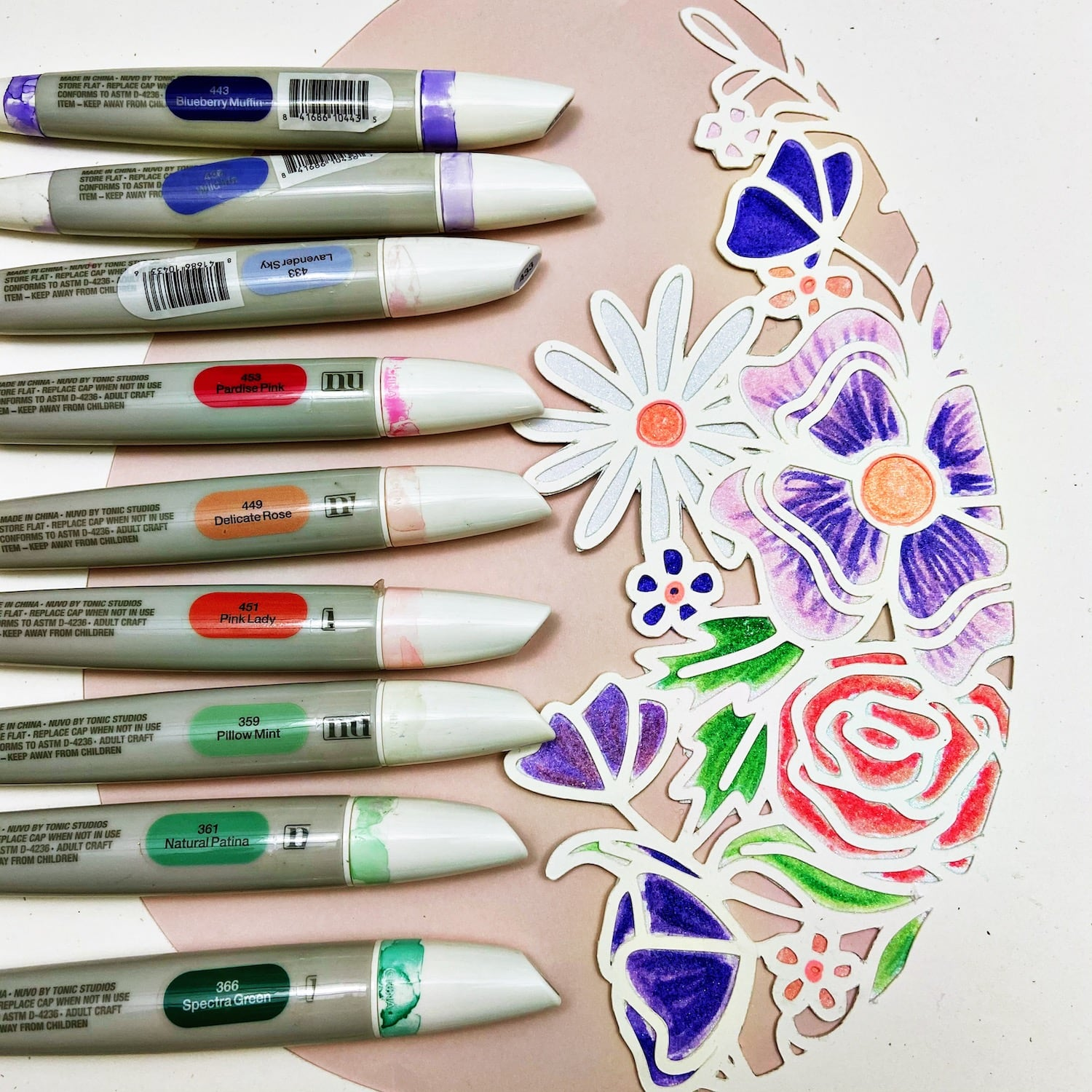 Coloring glitter paper with alcohol markers