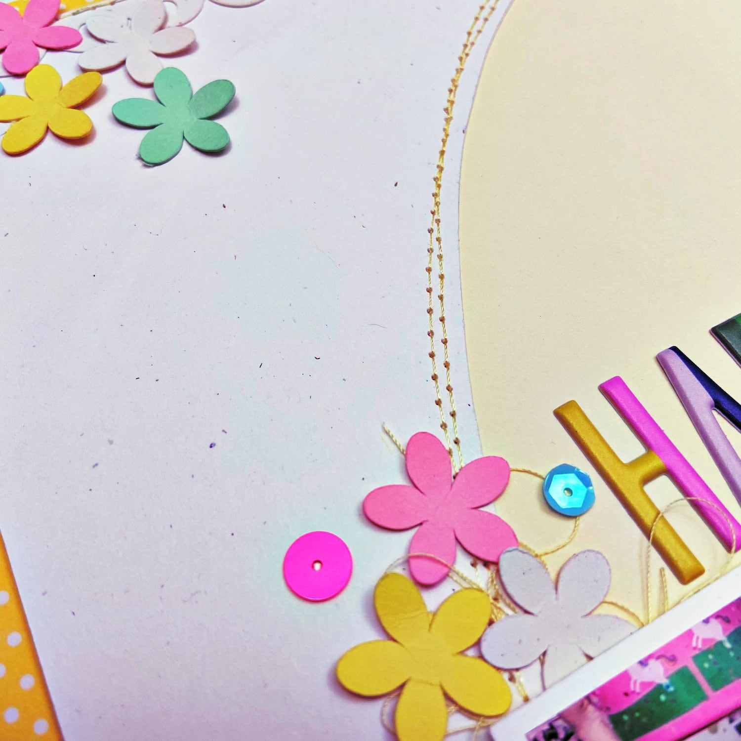 adding stitching to easter scrapbook layout