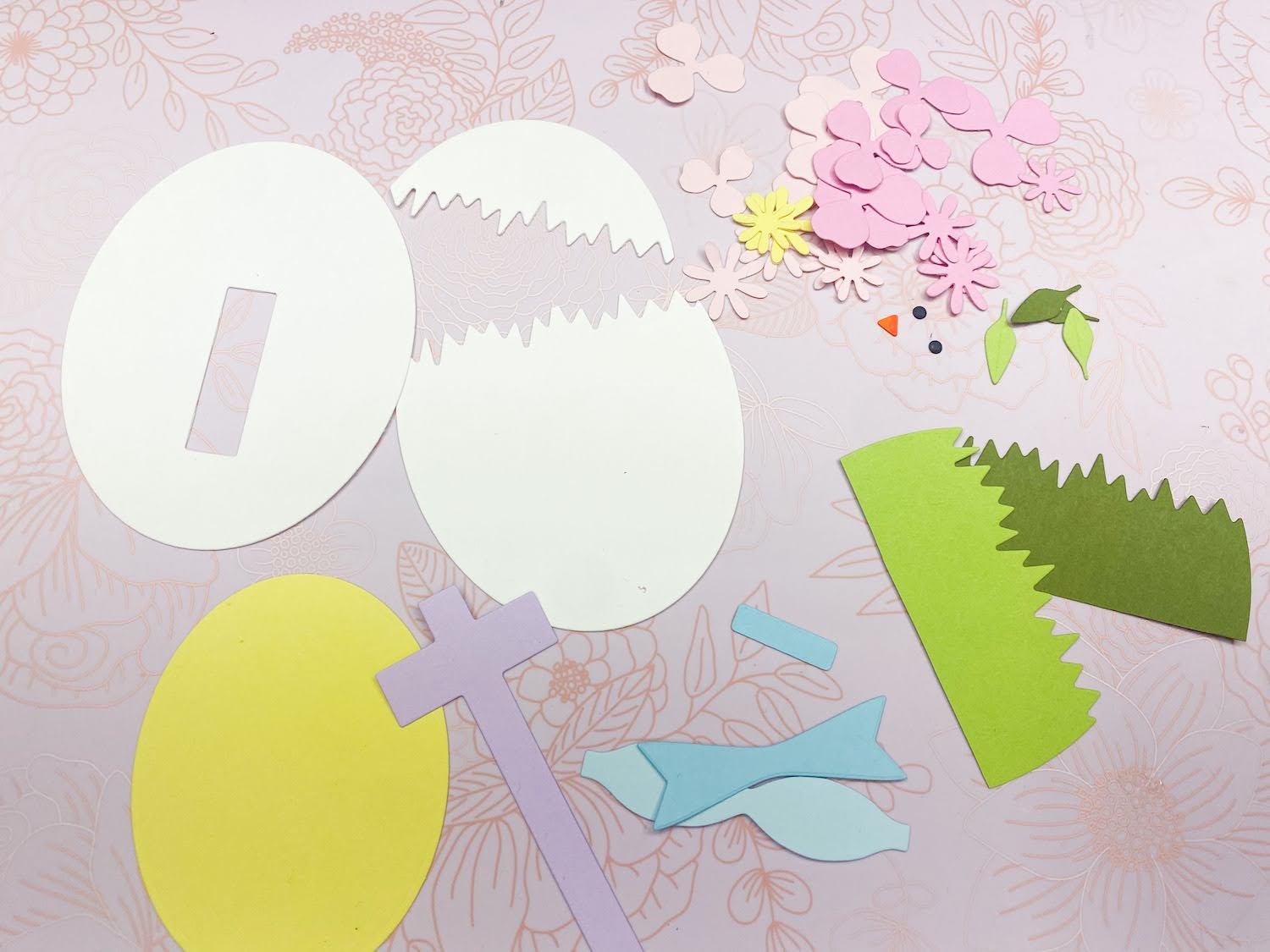 Die cut pieces for Easter Chick in Egg Basket Tag