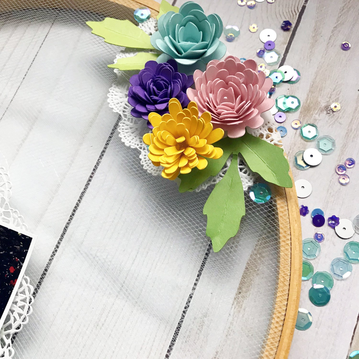 Embroidery Hoop Cardstock Paper Flowers Home Decor Scrapbook