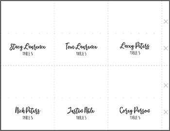 completed example place and escort card template