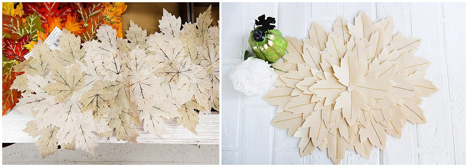 leaf placemat inspiration side by side with final paper leaves placemat