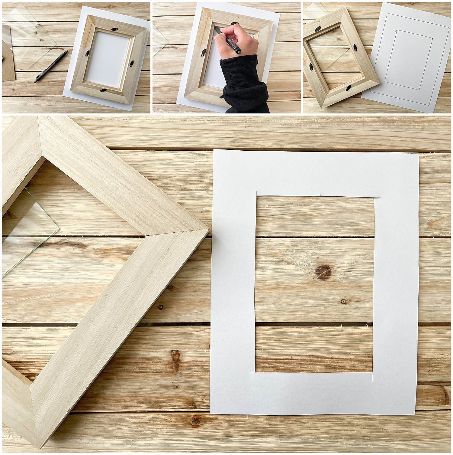 tracing and cutting paper frame