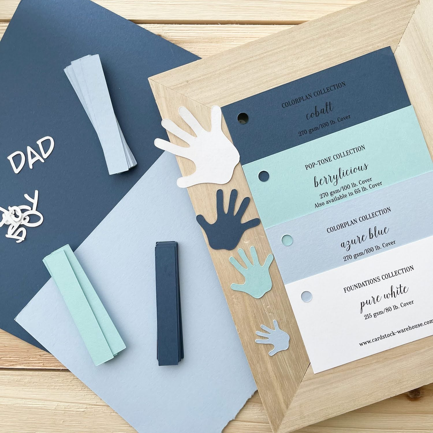 fathers day frame paper swatches and die cut pieces