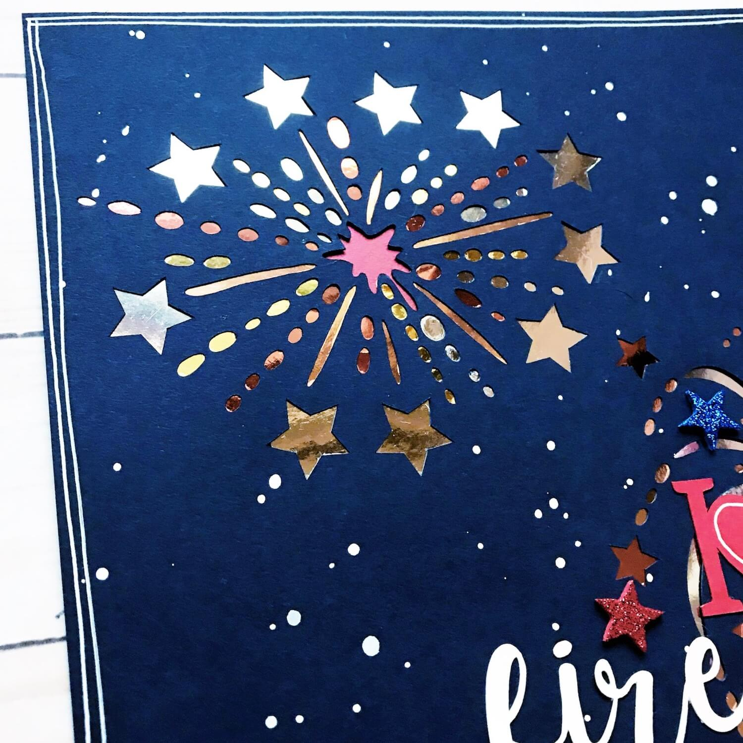 Cardstock Paper Fireworks Fourth of July Scrapbook Page Layout