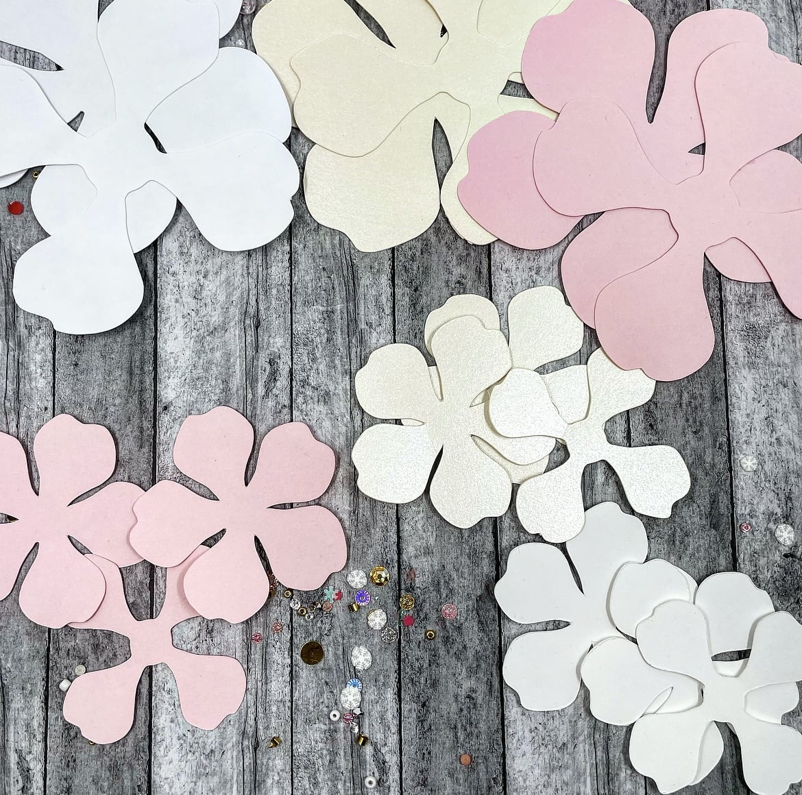 die cut flower petals for paper flowers