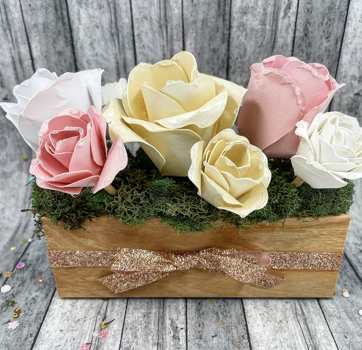 DIY Paper Flower Box with Cherry Wood Veneer Paper