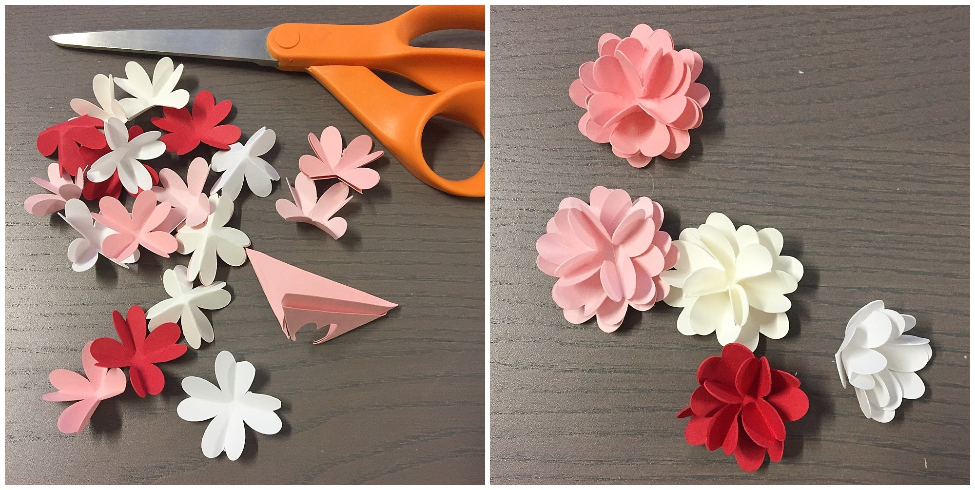 flower inner layers for paper flower wreath