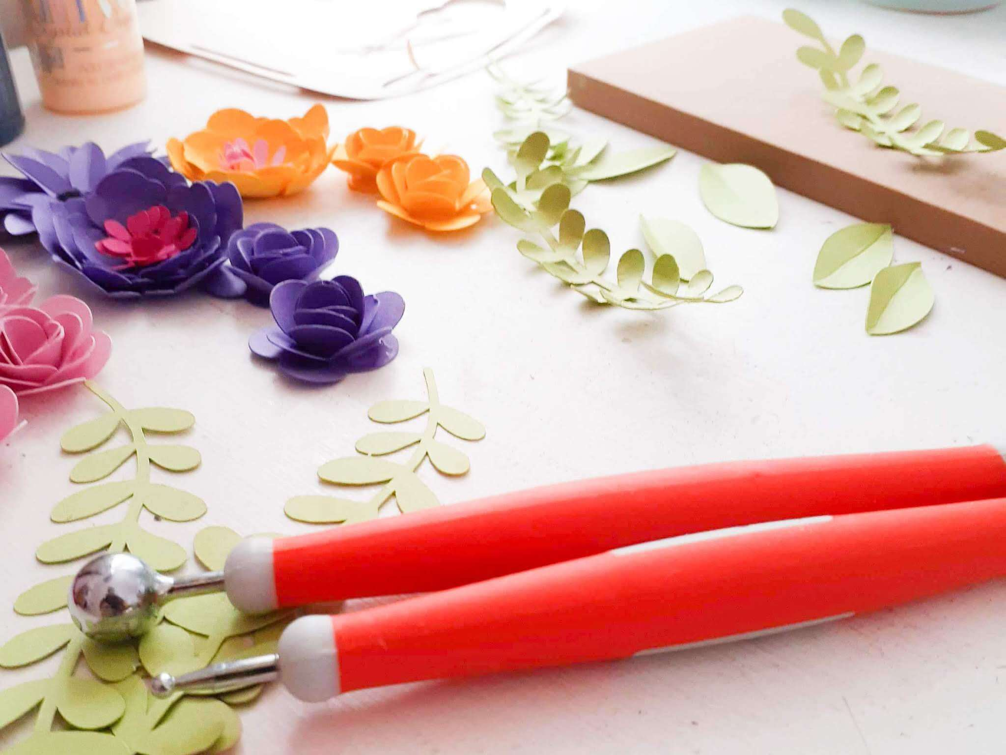 DIY Paper Flower Pieces and Tools