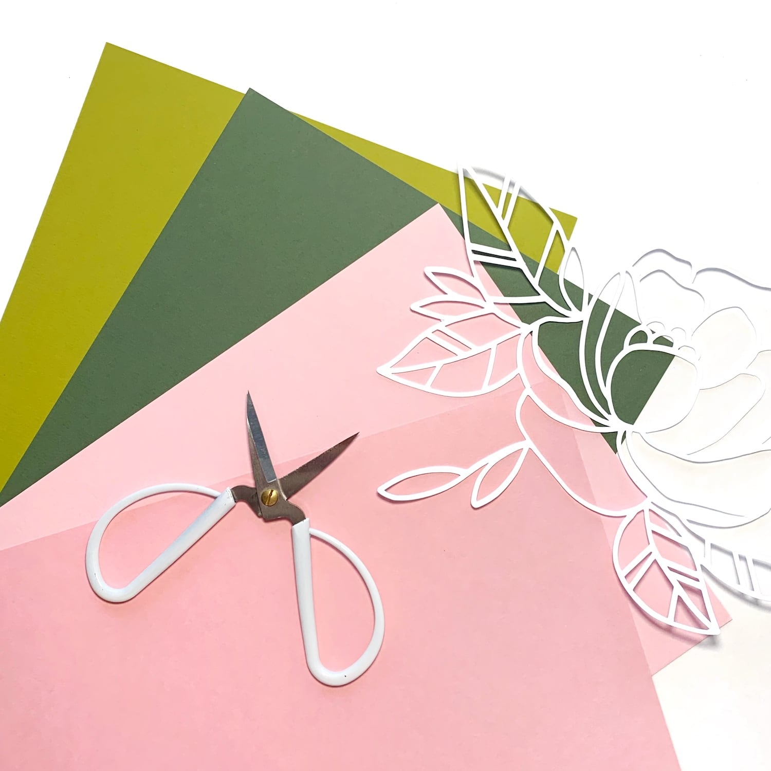 Chartreuse, Mid-Green, Candy Pink, and Bubblegum papers