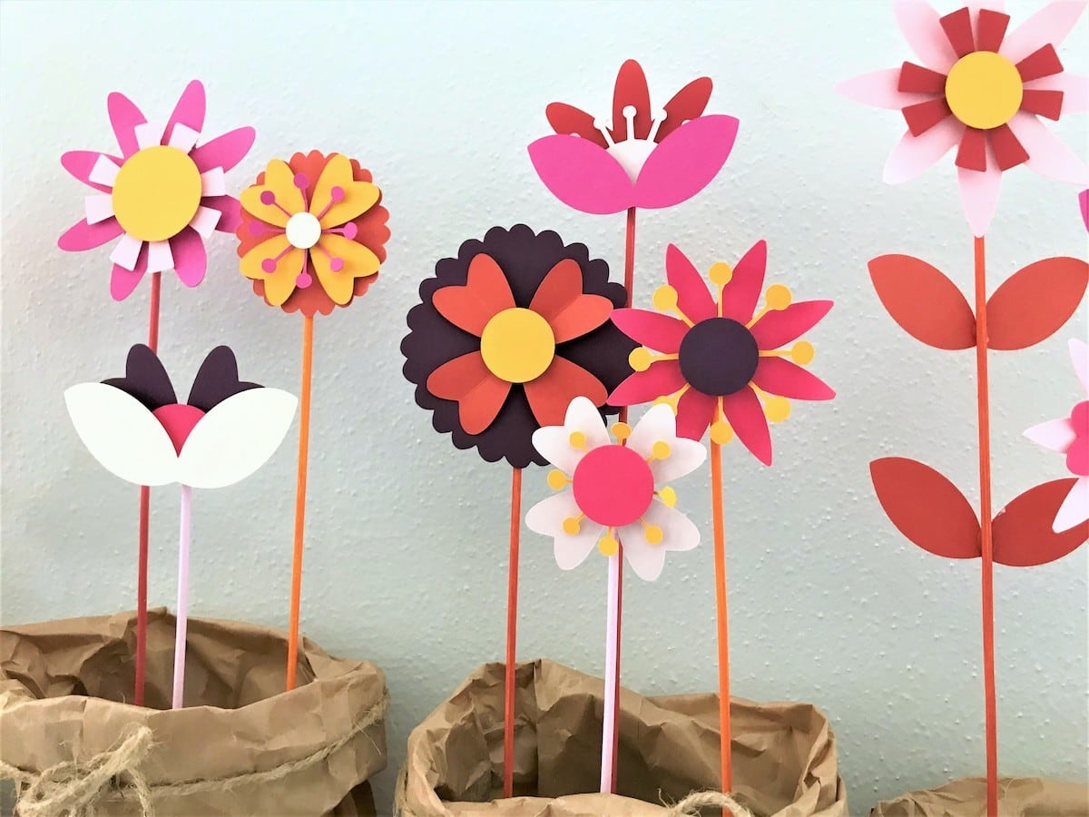 detail shot of paper flowers
