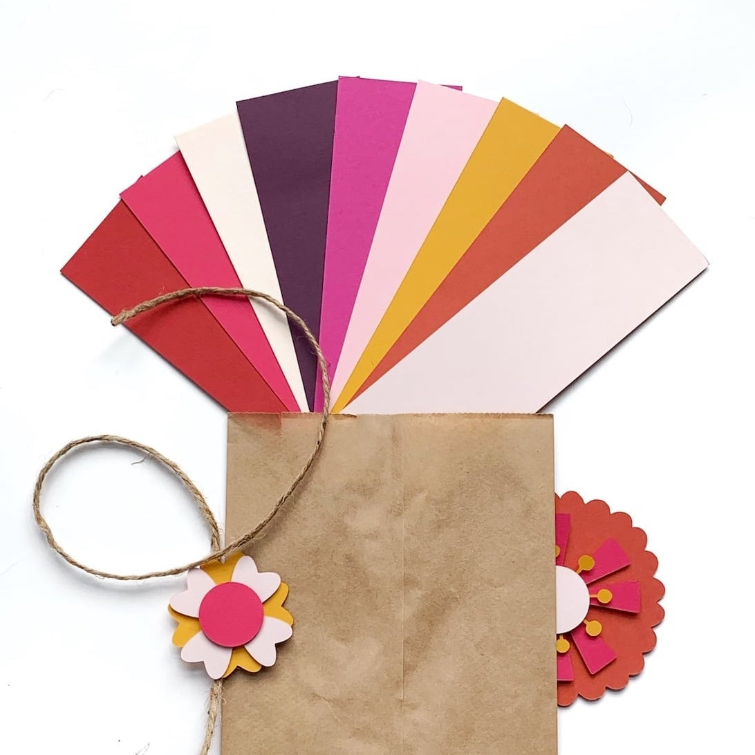 Papers and supplies for paper flower decor