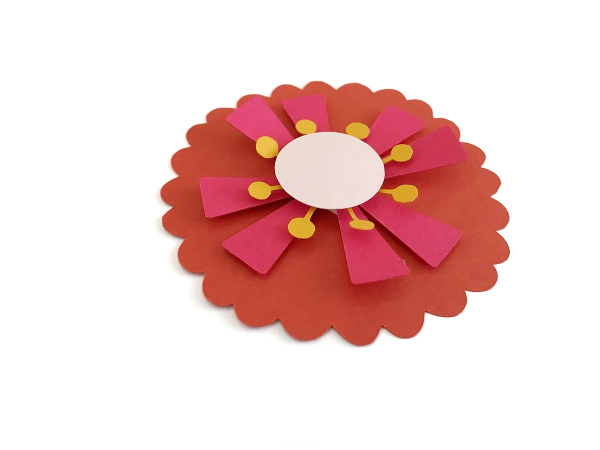 showing dimension in paper flower layers