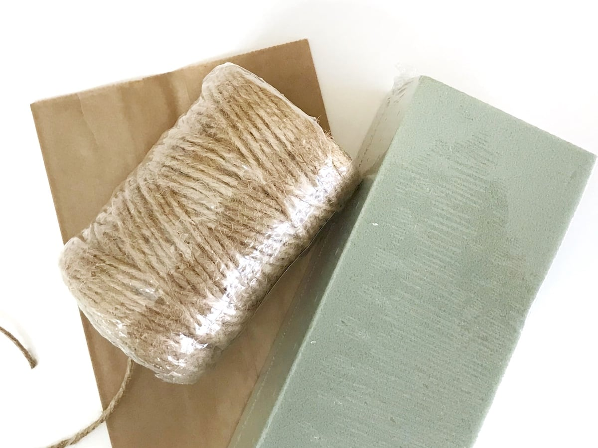floral foam, paper bags, and twine