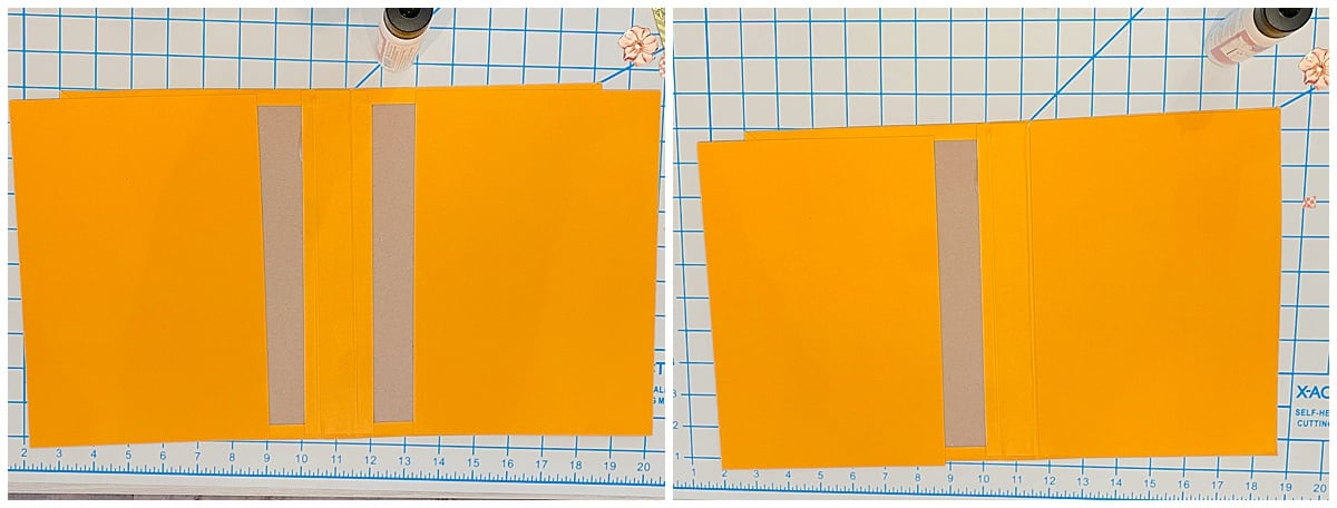Gluing paper to inside cover of notepad folio