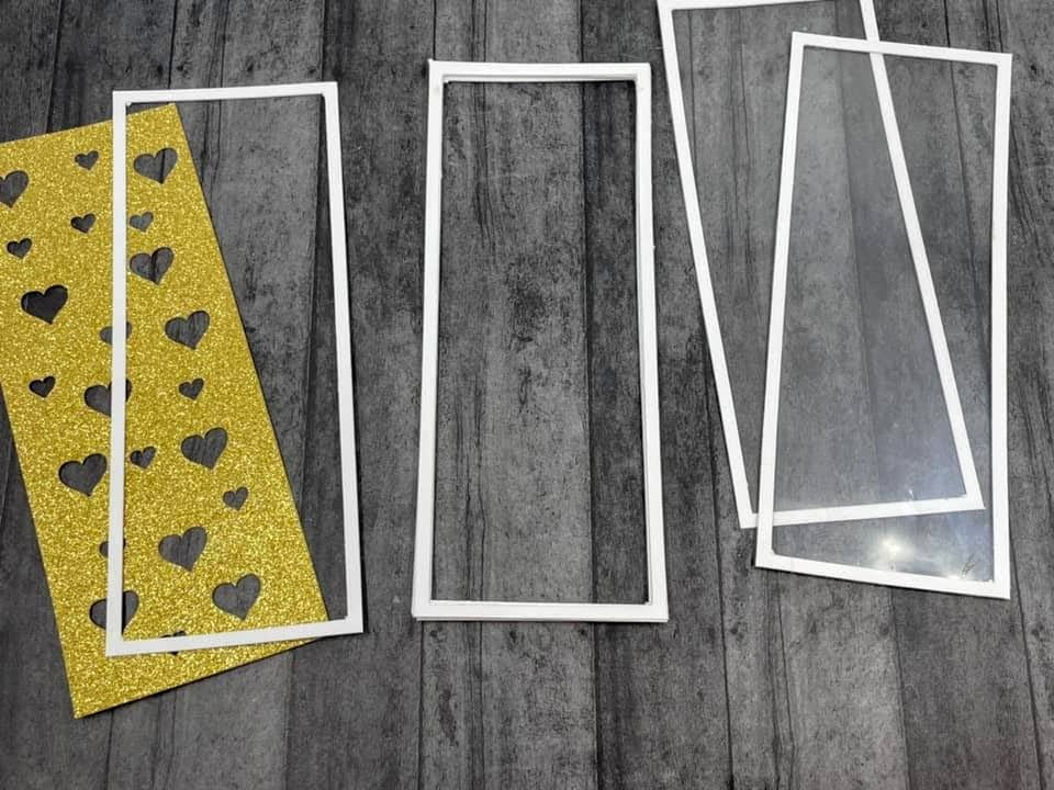Assembling die cut rectangles with acetate to make shaker card base