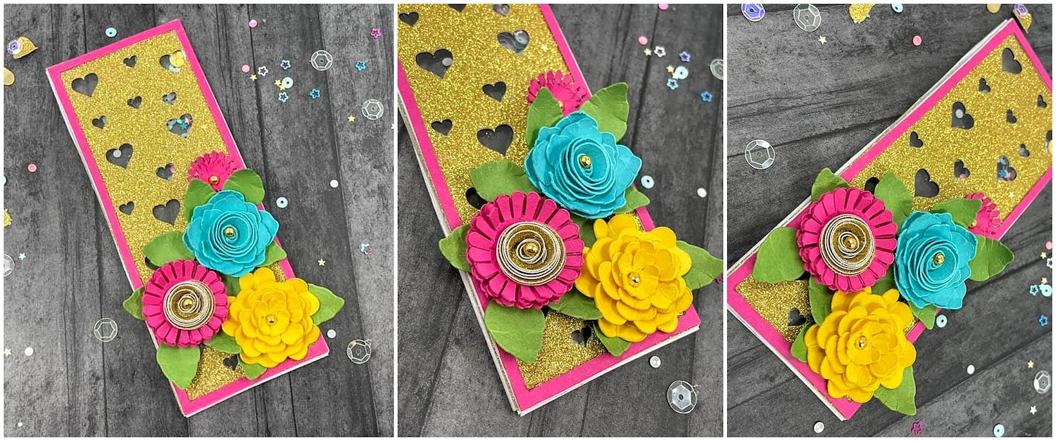 paper flowers for gift card shaker card