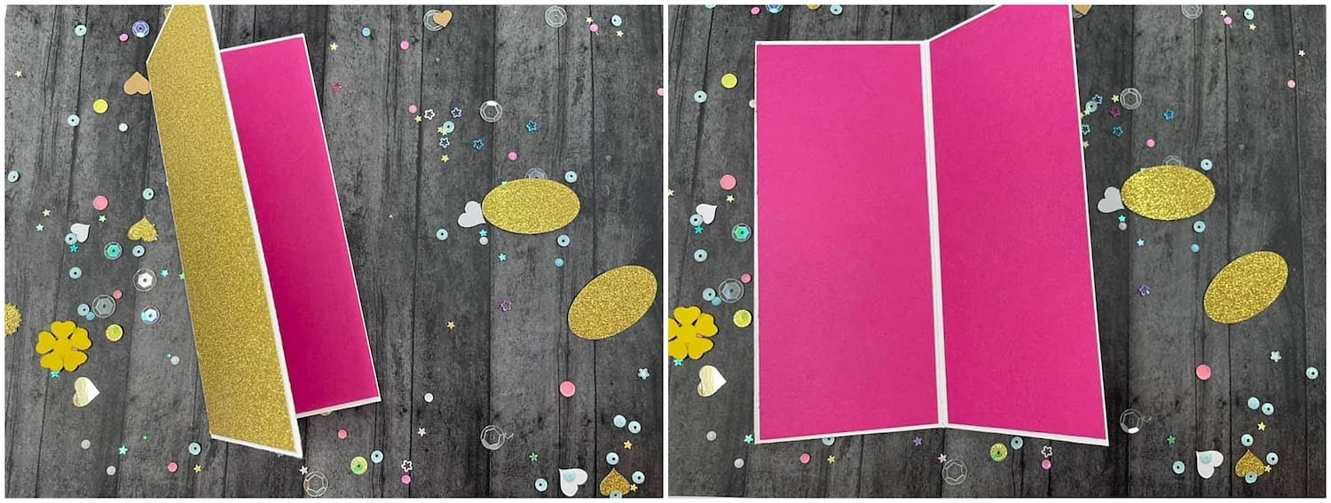 adding pink panels to card