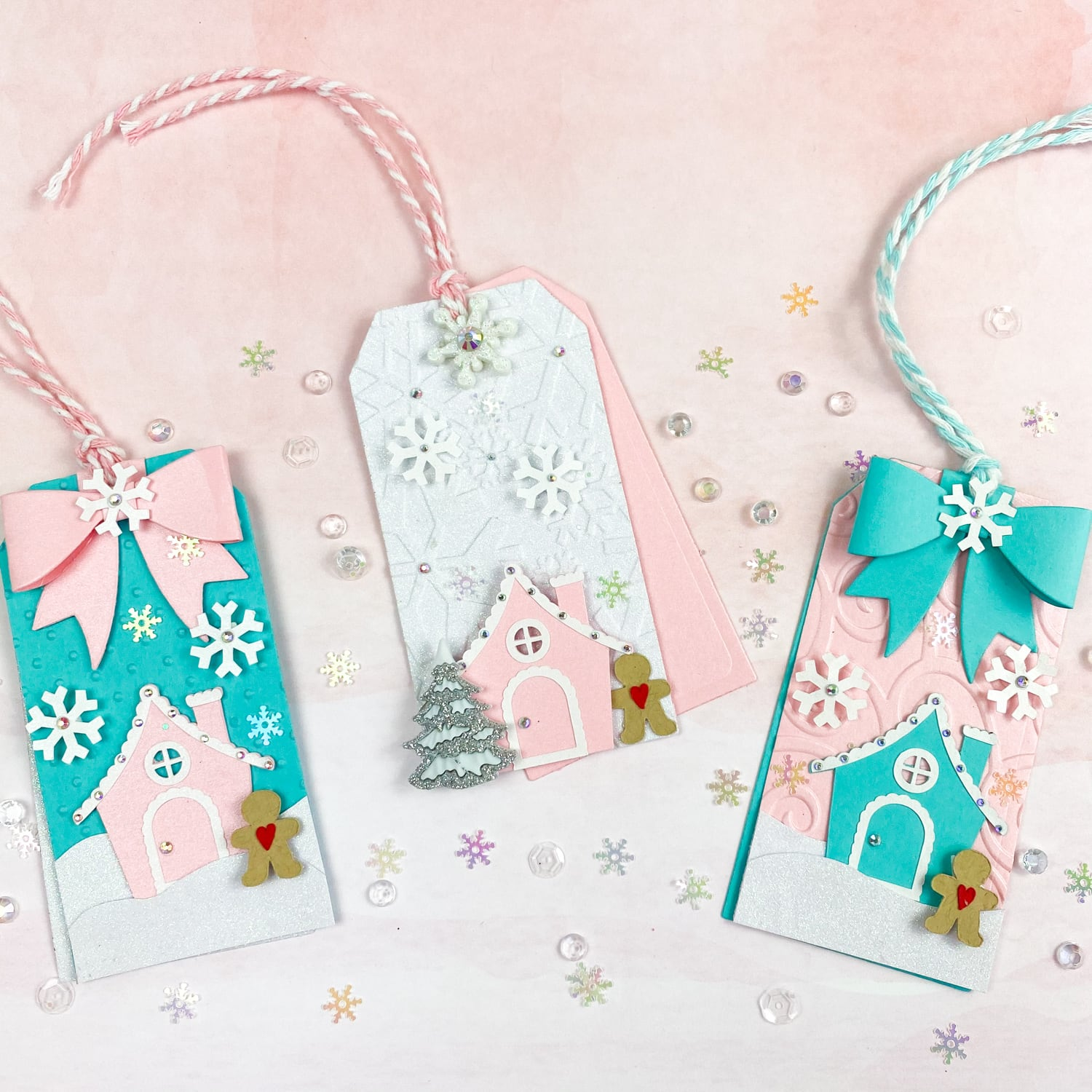 finished gingerbread house holiday tags