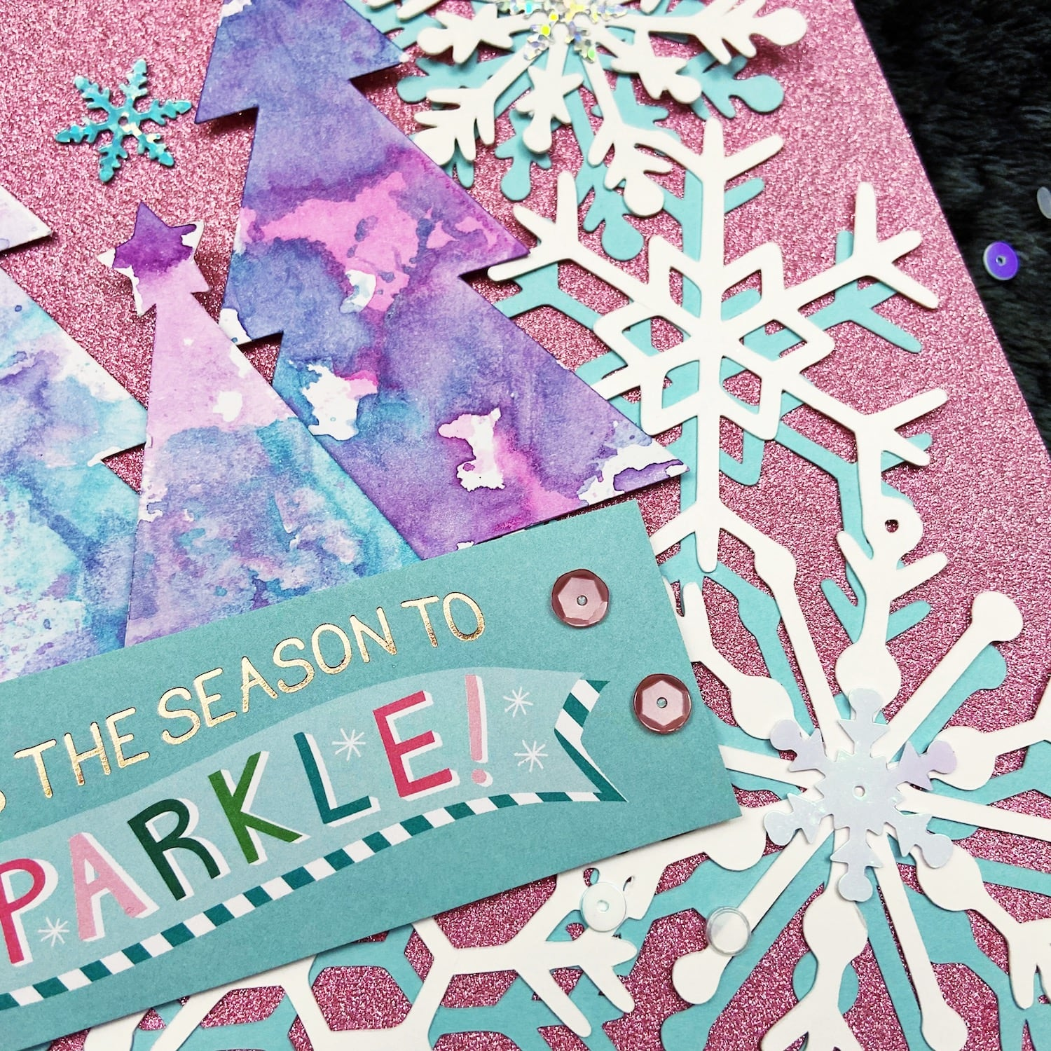 Homemade embellishments on snowflake scrapbook layout