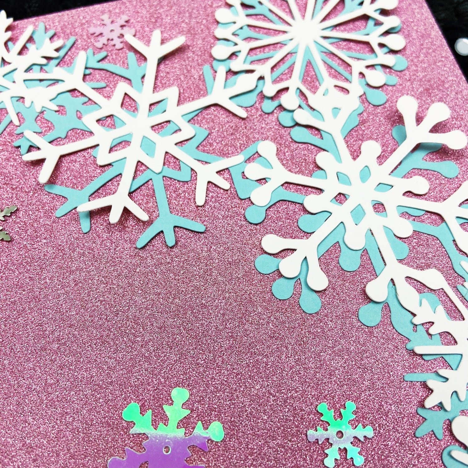 Sapphire Pink MirriSparkle Paper with snowflakes